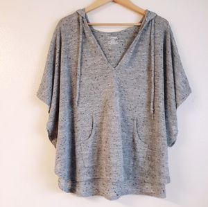 Hooded poncho top